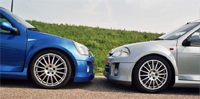 Illiad Blue and Icebery Silver Clio v6s